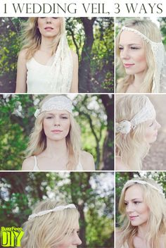 First up, Alison of The Knotty Bride demonstrates three ways to turn a bridal veil into a hairpiece.