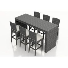 Harmonia Living District 7 Piece Bar Set with Cushions Fabric: Canvas Natural