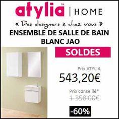 #missbonreduction; Soldes: remise de 60% sur l'ENSEMBLE DE SALLE DE BAIN BLANC JAO chez Atylia. http://www.miss-bon-reduction.fr//details-bon-reduction-Atylia-i4-c1840682.html