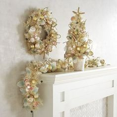Riding the wave of the coastal trend, our handcrafted golden floral collection is decked out with capiz shells and leaves, beaded starfish, plus natural raffia and abaca plant rope. Your mantel or staircase, or even your covered porch, is destined to bring the beach home this holiday.