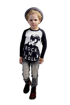 Rock n Roll tee, Strummer jeans and Freddy Fedora | Rock Your Kid winter 2014 | www.rockyourbaby.com