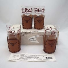 Vintage Western Libbey Cattle Brand Tumblers With Bamco Tooled Leather Coasters UNUSED IN BOX