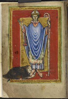 Miniature of a monk (Bede?) kissing the feet of St Cuthbert, from the preface to Bede's proseLife of St Cuthbert, England (Durham), 4th quarter of the 12th century,Yates Thompson MS 26, f. 1v