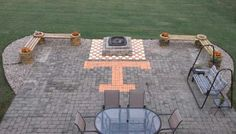 Big Orange TN Vol Patio . Love that checkerboard fire pit! Tennessee Volunteers Football, Tennessee Football, University Of Tennessee, State University, Outside Living, Outdoor Living, Outdoor Decor, Outdoor Spaces, Tn Vols