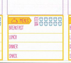 Daily food log stickers [Printable], Daily menu, meal plan, meal planning, water hydration tracker note
