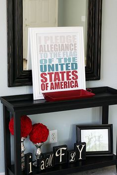 """4th of July print @Michelle Godfrey Catts  My favorite part of this is that some kid -- and you know it's a boy-- rearranged the """"family"""" under the table to say """"I am fly.""""  LOVE."""