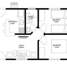 PLANTA-DE-CASAS-PEQUENAS-COM-COZINHA-AMERICANA-2-QUARTO_396393 Drawing House Plans, Apartment Floor Plans, Best House Plans, Small House Design, Types Of Houses, Floor Design, House Rooms, My House, Cool Designs