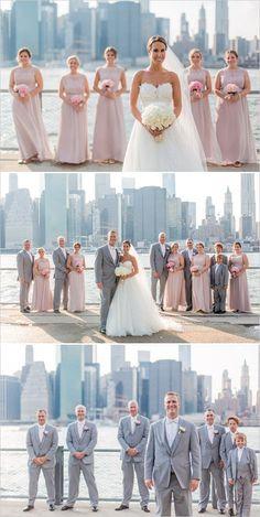 pink and gray NYC wedding | skyline portraits | bridal party ideas | city wedding | #weddingchicks