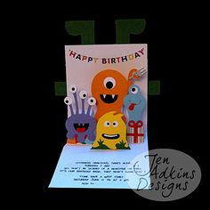 Jen Adkins Designs:Pop-up invitation #monsters