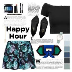 """Happy Hour : All Black"" by trissnr ❤ liked on Polyvore featuring Alice + Olivia, Balmain, Christian Dior, Smith & Cult, Arbonne, Yves Saint Laurent, CLUSE, floral, black and mood"