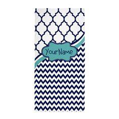 Navy Blue Lattice Chevron Custom Beach Towel