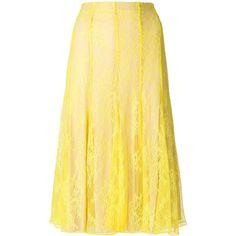 Blumarine lace midi skirt ($732) ❤ liked on Polyvore featuring skirts, yellow, blumarine, blumarine skirt, midi skirt, beige skirt and calf length skirts
