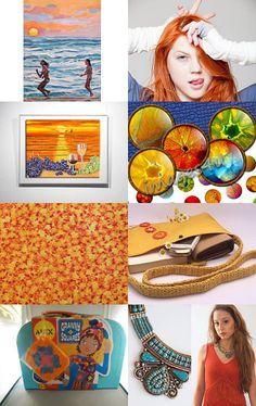 Orange sunset ♡ and ♡ Blue aquamarine! ♡ by Julia Apostolova on Etsy--Pinned with TreasuryPin.com