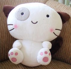 Smiling Cat Handmade Softie Plush Toy by Whiscraft on Etsy, $18.00