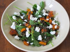 Baby Kale Salad with Butternut Squash, Lentils, & Goat Cheese   KitchenSinkDiaries.Blogspot.com