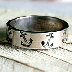 Anchor - Sterling Silver Ring Band - - Hand Forged and Hand Stamped - Custom Size Anchor Rings, Anchor Jewelry, Nautical Jewelry, Silver Stacking Rings, Sterling Silver Rings, Other Accessories, Jewelry Accessories, Nautical Fashion, Nautical Style