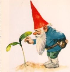 Inspector Gnomie takes tender care with growing things. Rien Poortvliet - Inspector Gnomie takes tender care with growing things. Woodland Creatures, Magical Creatures, Fairy Land, Fairy Tales, Illustrations, Illustration Art, David The Gnome, Baumgarten, Humanoid Creatures