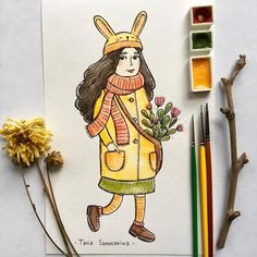 autumn sunbeam girl ✨ #tania_autumndraw #illustration #watercolorart #art #painting #inspiration #painteveryday #picame #artistoninstagram #autumn #september #characterdesign #girl #sunbeam #bunnygirl