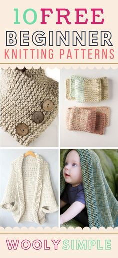 Free beginner knitting patterns that are easy, knit flat, and simply written are hard to find. Here's a list of free knitting patterns for absolute beginners. for beginners 10 Free Beginner Knitting Patterns for Absolute Beginners Beginner Knitting Projects, Easy Knitting Patterns, Crochet For Beginners, Knitting Stitches, Baby Knitting, Crochet Projects, Easy Patterns, Crochet Baby, Beginner Crochet