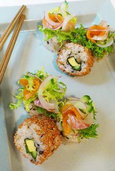 【☆見た目も美しい美容食☆彩鮮やかな寿司ケーキ♪】 Salmon Burgers, Sushi, Ethnic Recipes, Hair, Beauty, Food, Essen, Meals, Beauty Illustration