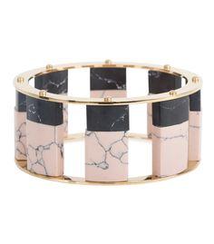 Fall Jewelry Guide at #ShopBAZAAR: Onyx Stone Jewelry – LeLe Sadoughi Tall Two-Tone Stone Stackable Bangle