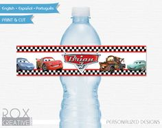 Cars Birthday Water Labels Disney Cars by RoxCreativeDesign