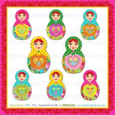 Digital ClipArt Set  8 Matryoshka's  JPEG  PNG  by MariekeVDesign, $4.00