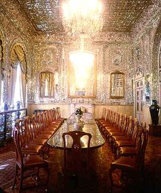 Golestan Palace, Iran. Love the use of small mirrored pieces on every surface!