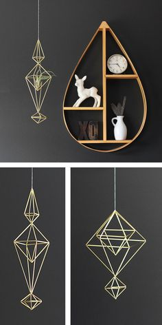 Gorgeous tear drop shelf & Hanging Mobiles and Planters by Hruskaa Diy Terrarium, Hanging Mobile, Diy Planters, Handmade Ornaments, Displaying Collections, Beautiful Space, Plant Holders, Furnitures, Shadow Box
