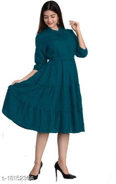 Checkout this latest Dresses Product Name: *Trendy Designer Women Dresses* Fabric: Rayon Sleeve Length: Three-Quarter Sleeves Pattern: Solid Multipack: 1 Sizes: S (Bust Size: 36 in, Length Size: 46 in)  M (Bust Size: 38 in, Length Size: 46 in)  L (Bust Size: 40 in, Length Size: 46 in)  XL (Bust Size: 42 in, Length Size: 46 in)  XXL (Bust Size: 44 in, Length Size: 46 in)  Country of Origin: India Easy Returns Available In Case Of Any Issue   Catalog Rating: ★4.2 (555)  Catalog Name: Stylish Sensational Women Dresses CatalogID_3683707 C79-SC1025 Code: 254-18152366-4731