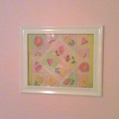 Framed patchwork so cute and easy to do and matches my little girls room perfectly.