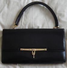 HERMES : Vintage Superbe sac cuir noir porté main années 60