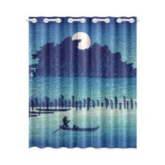 Hiroshige Moonlight Night Japanese Fine Art Window Curtain 52