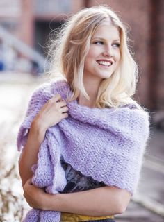 Finnish magazine Moda: Soft and warm shawl made of Teetee yarns. Design: Piia Maria Pekkanen