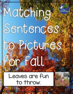 Matching sentences, autumn, fall, ELL, real pictures, speech therapy, comprehension, early reading, matching pictures, interactive, Velcro, expressive and receptive language, autism, task box workMatching sentences to pictures for fall uses real pictures to match to corresponding sentences.