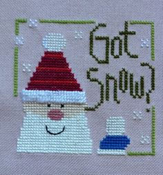 completed cross stitch Lizzie Kate Christmas Got Snow?