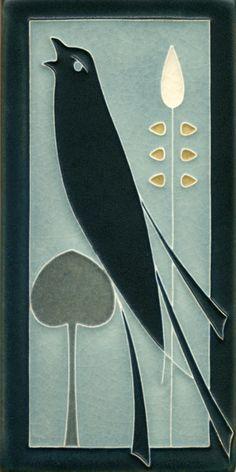4x8 Songbird Facing Left in Grey Blue www.motawi.com Craftsman Home Decor, Craftsman Style Bungalow, Modern Bungalow, Tile Art, Mosaic Art, William Morris, Art Nouveau Tiles, Animal Graphic, Madhubani Art