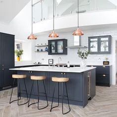 Kitchen Room Design, Home Decor Kitchen, Interior Design Kitchen, New Kitchen, Home Kitchens, Contemporary Kitchen Design, Grey Kitchen Designs, Modern Kitchen Island, U Shape Kitchen