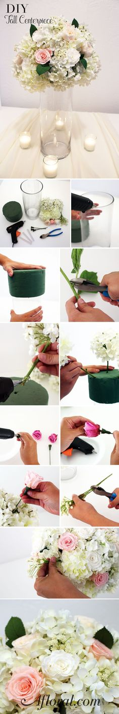 Tall Wedding Centerpiece DIY Materials: Glass Cylinder, Floral Foam Cylinder or Sphere, Hot Glue and Gun, Wire Cutters, Faux Hydrangeas, Baby's Breath, Preserved Rose Heads and Plastic Stems all available at Afloral.com #afloral #weddingcandlesdiy #ParentingAnniversary