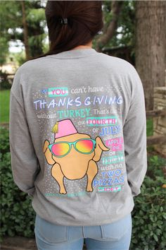 """Jadelynn Brooke: Friendsgiving long sleeve t-shirt in dark heather grey. Quote from Joey off Friends: """"You Can't Have Thanksgiving Without Turkey, That's Like Fourth of July Without Apple Pie or Friday With No Two Pizzas."""""""