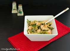 Asian Chicken Zoodle Salad Recipe Salads with chicken, zucchini, shredded cabbage, sliced cucumber, cilantro, green onions, vinegar, avocado oil, sesame oil, Sriracha, sea salt, toasted sesame seeds