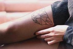 Tattoo / Geometric Tiger Head on Arm / #tattoo #ink #geometric #form #sign #tiger #animal #head #line #arm #forearm
