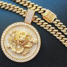 f3822f33ef3 gram gold 30 carat VVS diamond custom dragon charm and 320 gram Custom  Cuban link made for We beat your work