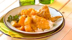 A comforting one pot chicken stew with the addition of butternut, sweet potato and curry powder to jazz it all up! Stewed Potatoes, One Pot Chicken, My Cookbook, Curry Powder, Easy Chicken Recipes, Cooking Classes, Sweet Potato, Kitchen Things, Eat