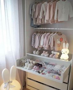 The Best in Nursery & Kid's Bedroom Closet and Storage Inspiration! Baby Room Closet, Kid Closet, Baby Bedroom, Baby Boy Rooms, Baby Room Decor, Girls Bedroom, Wardrobe Closet, Nursery Decor, Baby Zimmer Ikea
