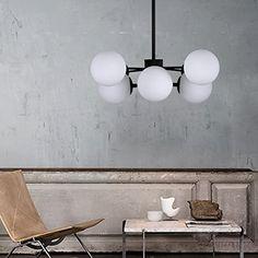 Ancienne lampe suspension globe abat jour boule en ver…