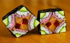 Mosaic Sushi Roll Evolution Food Recipe: gorgeous and fun, watch this video for a great way ato prepare sushi.