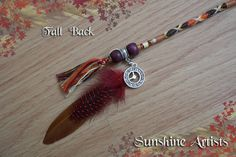 Feathered Fall Back pattern hair wrap, hair braid - autumn - tan, brown, deep red, orange, lemon - wooden beads, clock pendant and feathers