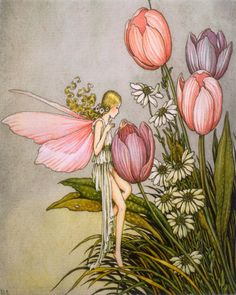 On Sale Tulip Fairy Vintage Hanging Board - 16.5 x 10 Inches