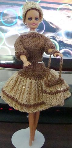 Mocha Top with Beige skirt (with sequins). Barbie Knitting Patterns, Knitting Dolls Clothes, Barbie Clothes Patterns, Crochet Barbie Clothes, Doll Clothes Barbie, Barbie Dress, Knitted Dolls, Clothing Patterns, Dress Patterns